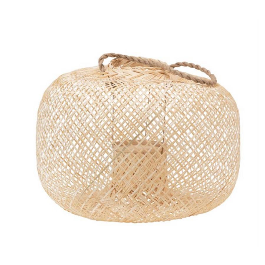 Short, Round- Hand Woven Bamboo Lantern with Jute Handle and Glass Insert, Natural