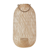 Bloomingville Hand-WovenTall, Rounded- Bamboo Lantern with Jute Handle and Glass Insert