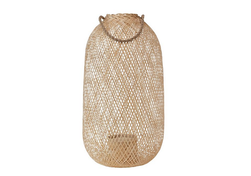 The Workroom Hand-WovenTall, Rounded- Bamboo Lantern with Jute Handle and Glass Insert