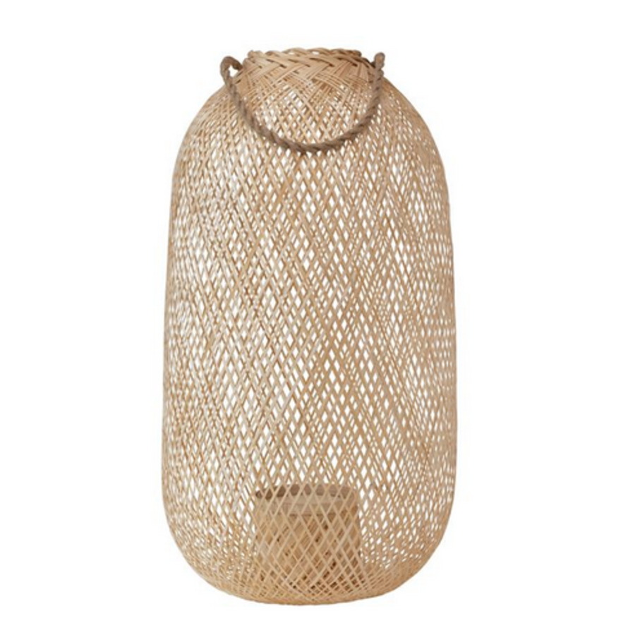 Hand-WovenTall, Rounded- Bamboo Lantern with Jute Handle and Glass Insert