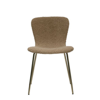 Boucle Fabric Upholstered Chair with Gold Zipper