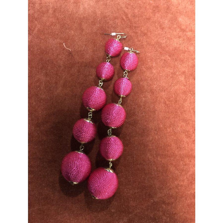 Fashion 5 Ball Pink Drop Earrings