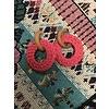 Fashion Wood & Pink Raffia Dbl Hoop Earrings