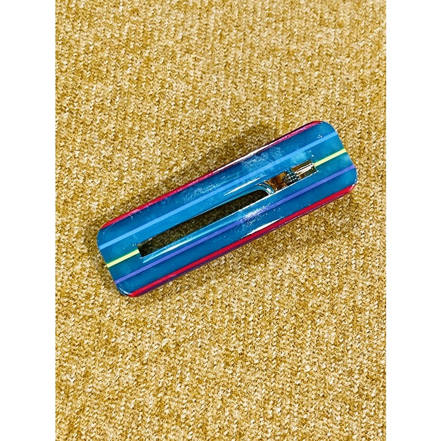 Fashion Teal Striped Hair Clip