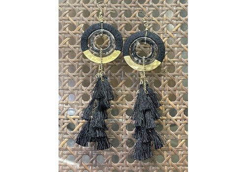 The Workroom Fashion Find Black & Gold Fringe Earrings