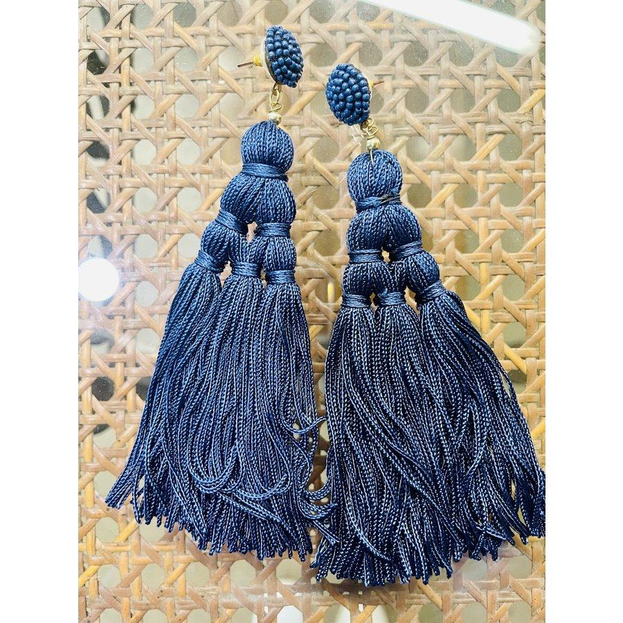 Fashion Find Navy Tassle Earrings