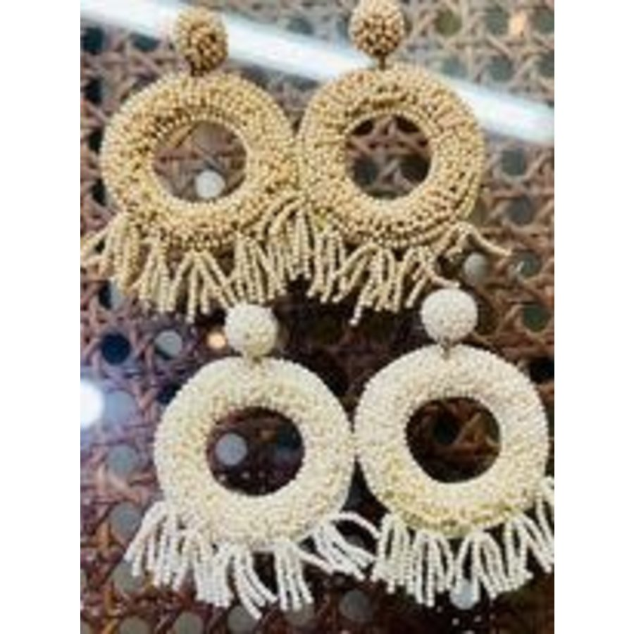 Fashion Find Ivory Seed Bead Fringe Earrings