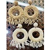 Fashion Find Taupe Seed Bead Fringe Earrings