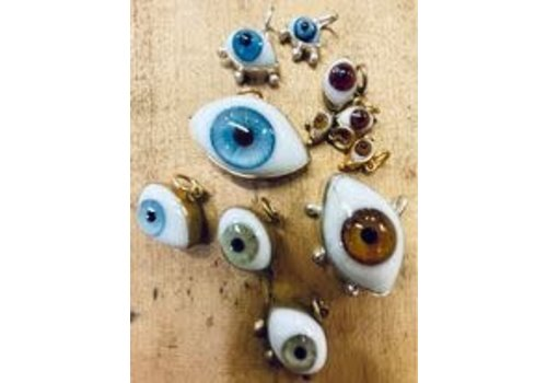 Jess Vintage Gold Eyeball Necklace Charm