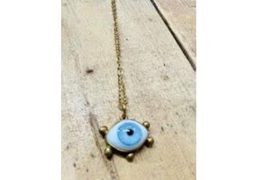 Jess Vintage Medium Eyeball Necklace with Chain Gold