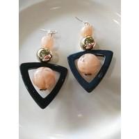 Blush Spheres w/ Black Triangle Earrings