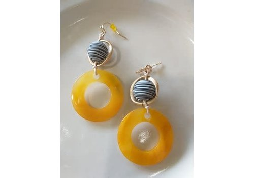 The Workroom Blue Sphere w/ Yellow Circle Earrings
