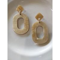 Cream Oval Earrings