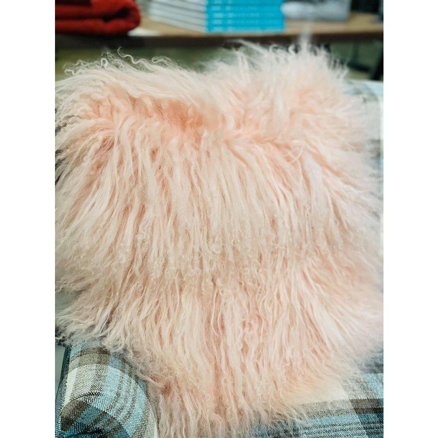 "Lamb Fur Pillow, Blush 16x16"" with insert"