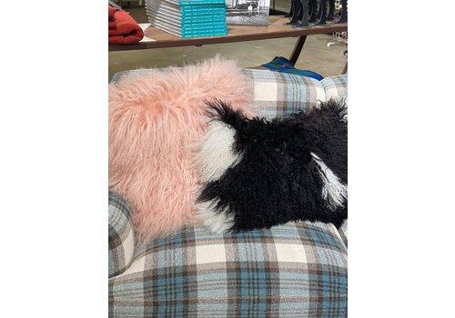 """Lamb Fur Pillow, B/W 12x20"""" with insert"""