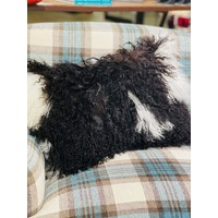 "Lamb Fur Pillow, B/W 12x20"" with insert"