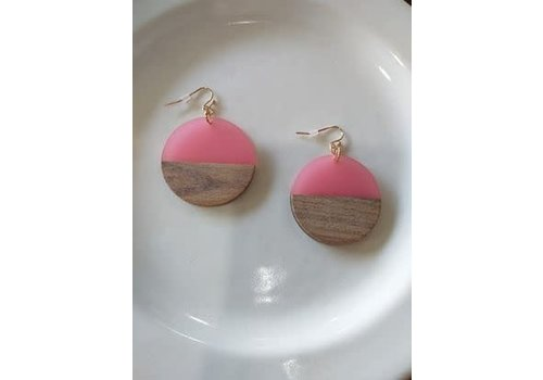 The Workroom Wood and Pink Earrings