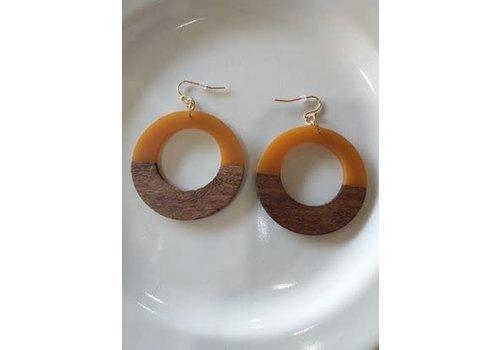The Workroom Orange and Wood Circle Earrings