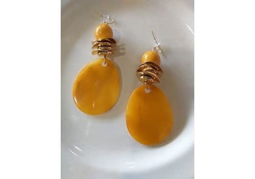 The Workroom Yellow and Gold Circle Earrings