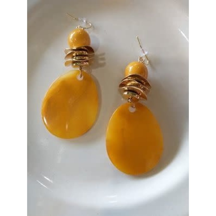 Yellow and Gold Circle Earrings