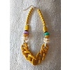 Bold Yellow Chain and Bead Necklace