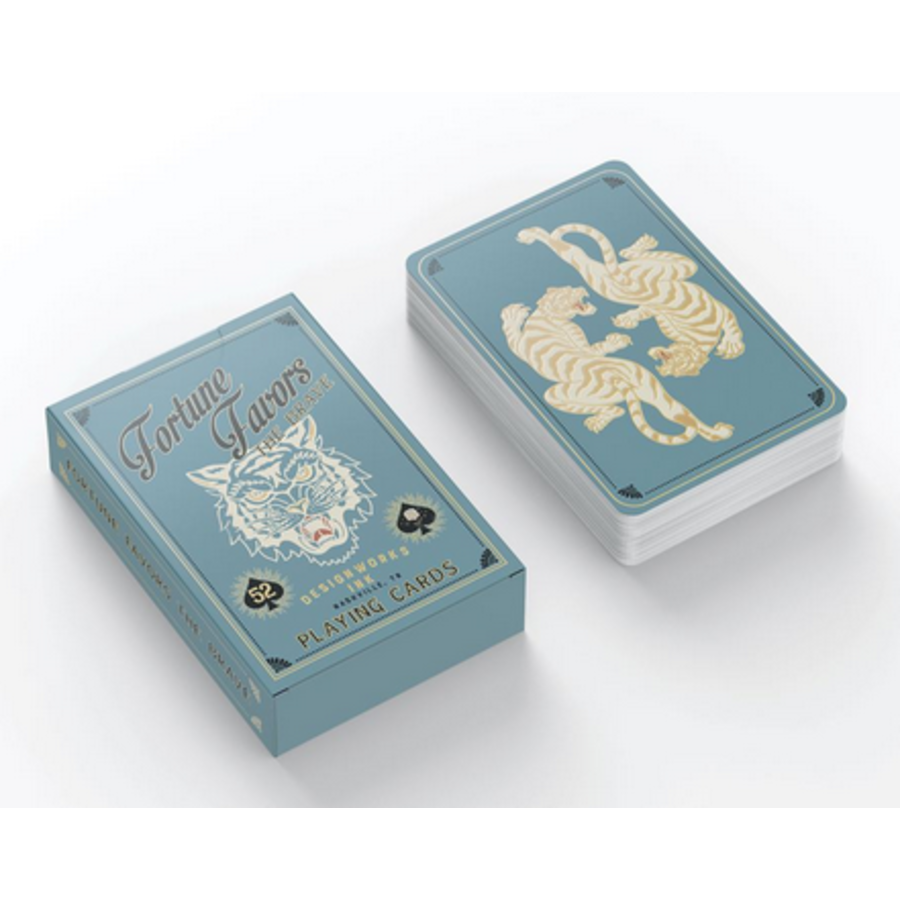 Teal Fortune Favors the Brave Playing Cards