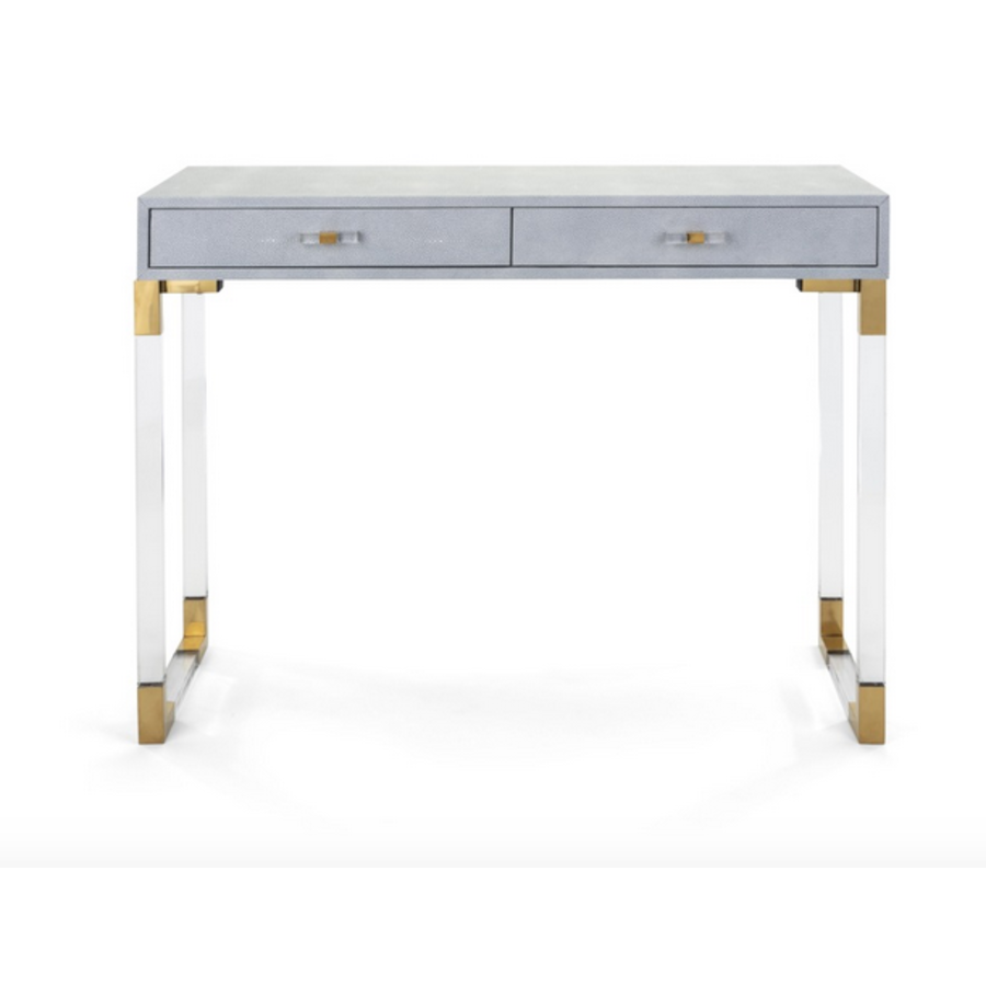 Misty Shagreen and Acrylic Console Table