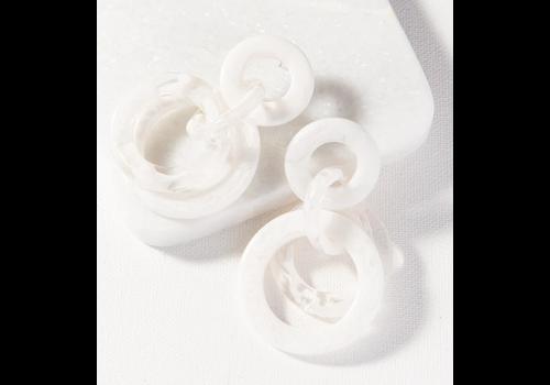 Ink + Alloy Marbled Acetate Mutli Circle Dangle- White