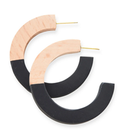 Wood and Resin Circle Post Earring