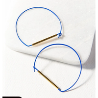 Cobalt and Brass Large Wire Hoop