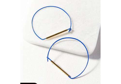 Ink + Alloy Cobalt and Brass Large Wire Hoop