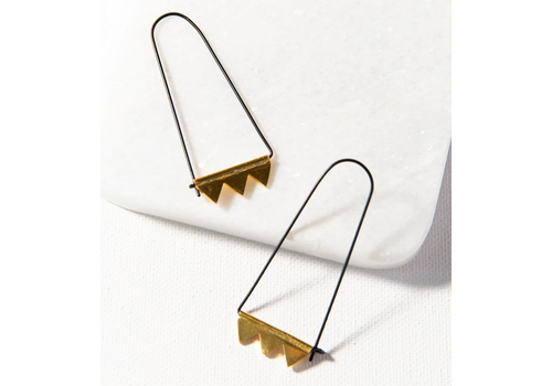 Ink + Alloy Elongated Hoop w/ Brass Triangle Design