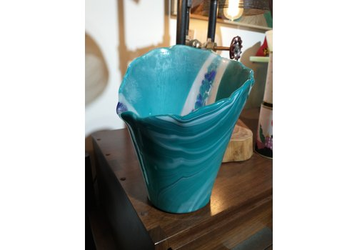 Cindy Raux Turquoise Vase with Flowers