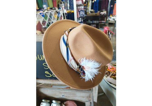 The Workroom One of a kind Workroom Hat Tan w/ scarf and feather