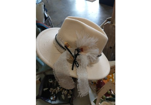 The Workroom One of a kind Workroom Hat Beige w/ feather