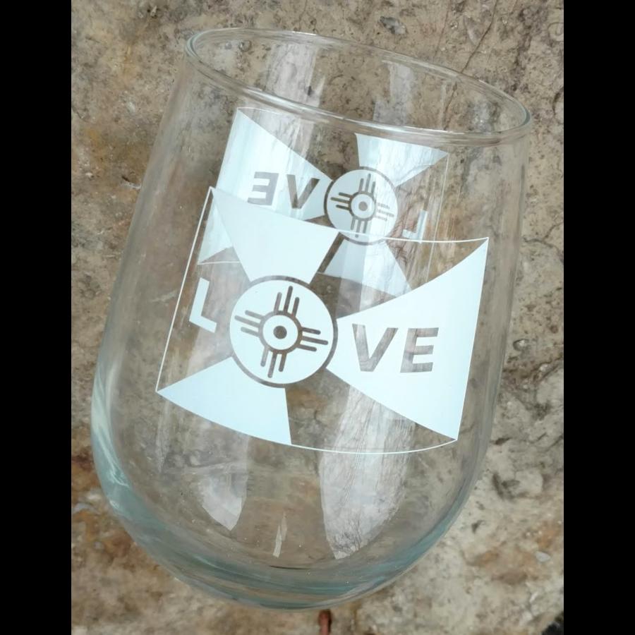 Love Flag Stemless Wine Glasses