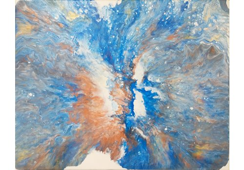 "Acrylic Creations By Jessica Kilpatric Acrylic Creations by Jess 16""x20"" White w/ Blue and Gold"