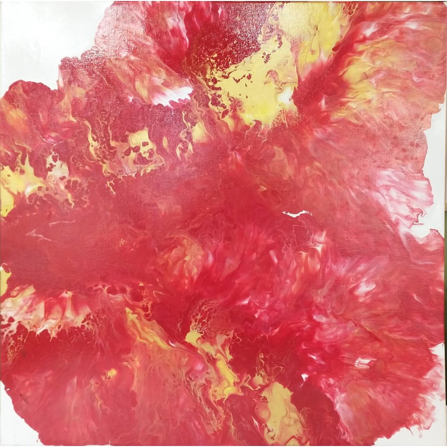 "Acrylic Creations by Jess 24""x24"" Red w/ yellow"