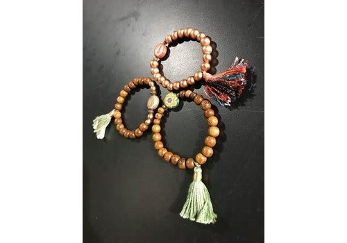 Lamzy Divey Assorted Wood Bead and Tassel Bracelet