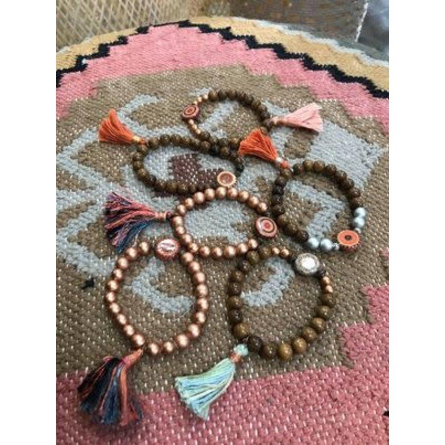Assorted Wood Bead and Tassel Bracelet