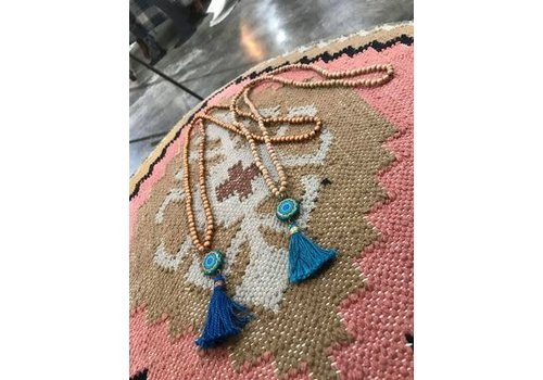 Lamzy Divey Wood Bead and Tassel Necklace