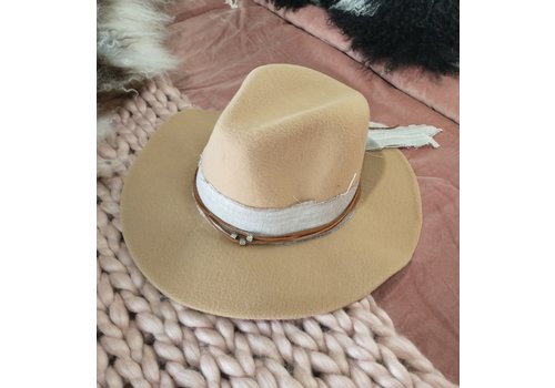 The Workroom Textile Artist Hat- Tan w/ Brown beaded Band