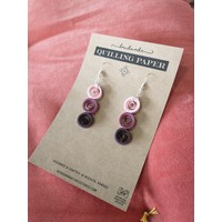 Handmade Quilling Paper Earrings- Pink, Purple, Deep Purple Cirlces