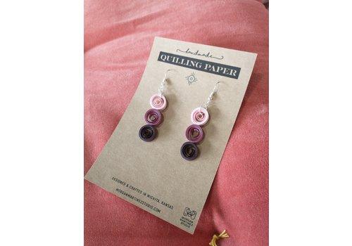 Morgan Martinez Studio Handmade Quilling Paper Earrings- Pink, Purple, Deep Purple Cirlces