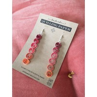 Handmade Quilling Paper Earrings- Ombre Circles Red to Orange