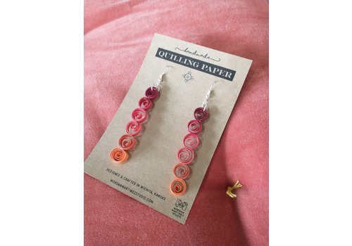 Morgan Martinez Studio Handmade Quilling Paper Earrings- Ombre Circles Red to Orange