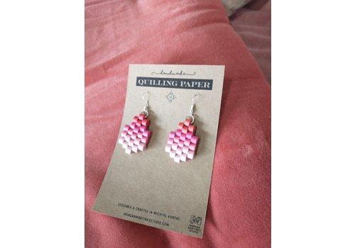 Morgan Martinez Studio Handmade Quilling Paper Earrings- Ombre Orange to Pink