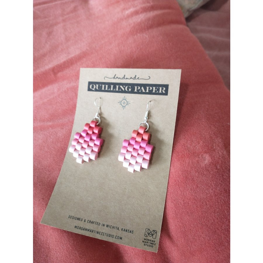 Handmade Quilling Paper Earrings- Ombre Orange to Pink