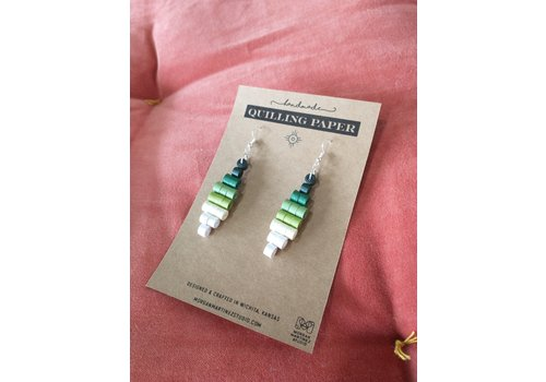 Morgan Martinez Studio Handmade Quilling Paper Earrings- Ombre Green to White