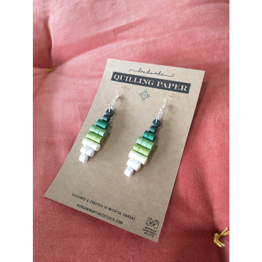 Handmade Quilling Paper Earrings- Ombre Green to White